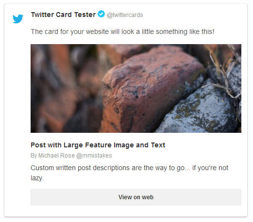 Twitter Card summary large image screenshot